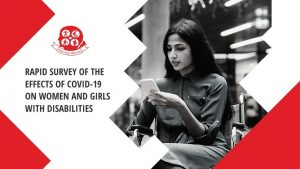 Poster of Survey showing a women in a wheelchair using mobile phone.