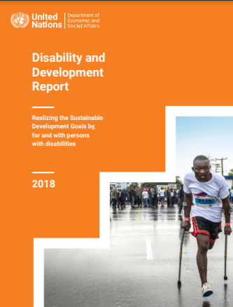 Cover image of Disability and Development Report showing a person walking using crutches